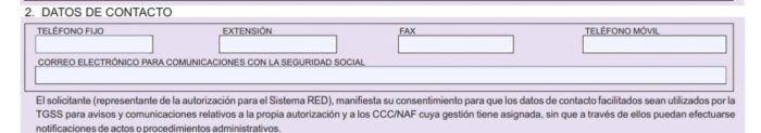 Formulario FR 101 datos de contacto