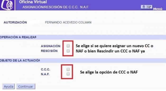 Asignación CCC o NAF Gestión de autorizaciones
