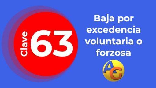 Baja por excedencia voluntaria o forzosa clave 63