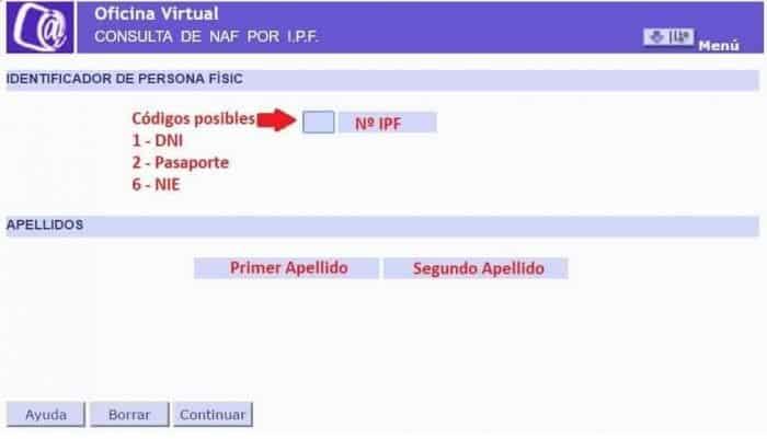Conusulta de NAF por IPF