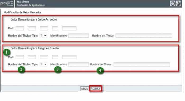 Introducir modificar datos bancarios Sistema RED