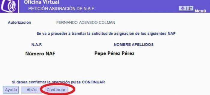 Petición asignación naf