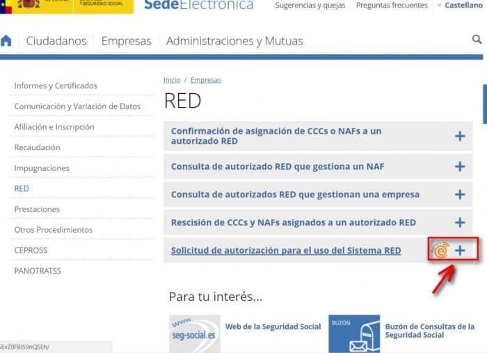 Sede Electrónica Solicitud de autorizado red