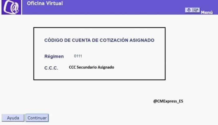 código de cuenta de cotización secundario