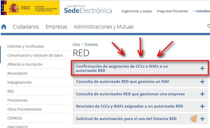 confirmar asiganción de ccc o naf autorizado red