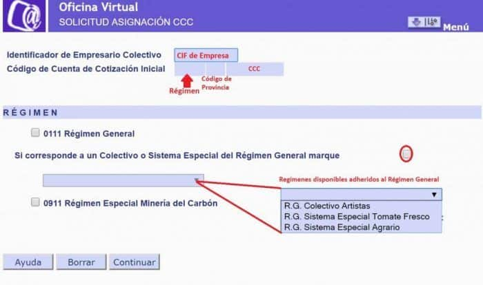 solicitud asignación ccc