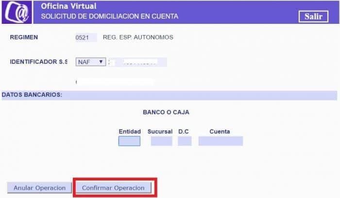 confirmación de datos bancarios Sistema RED