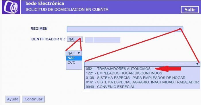 domiciliación bancaria autónomos RETA
