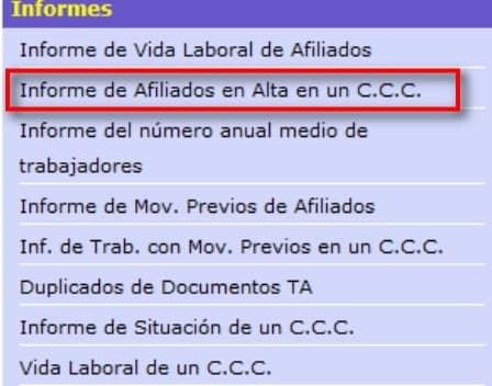 Informe de afiliado en alta de un CCC img