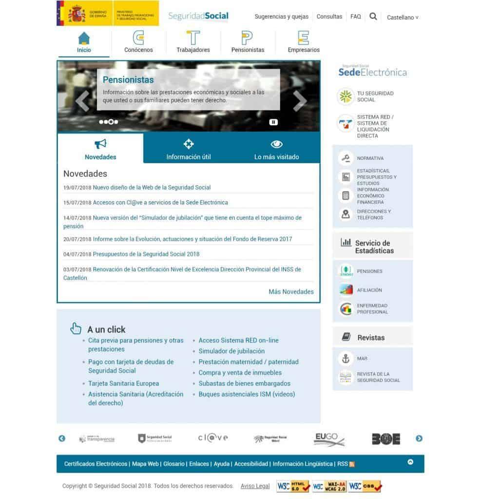 Seguridad Social nuevo diseño web