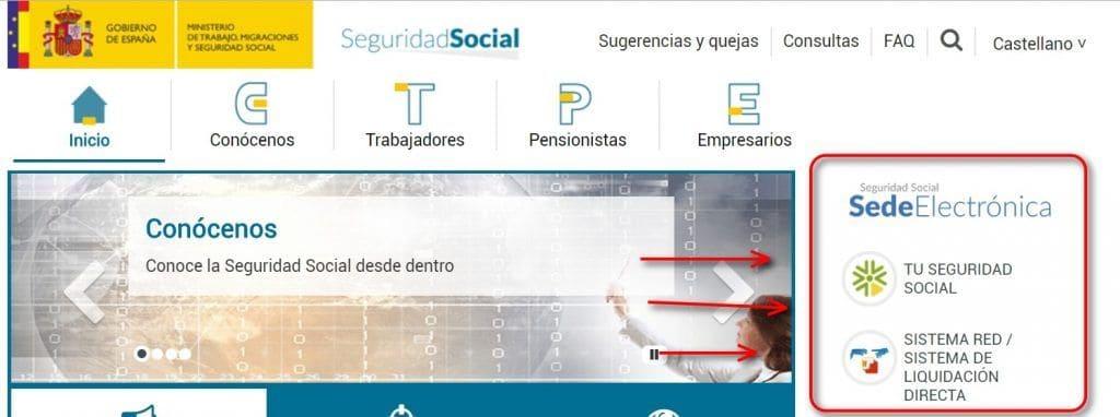 accesos directos a trámites seguridad social