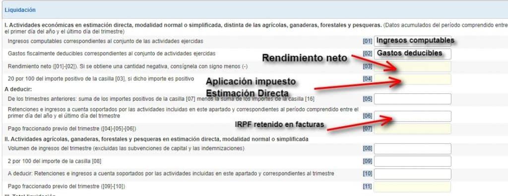 stimación directa pago impuesto y pago fraccionado irpf