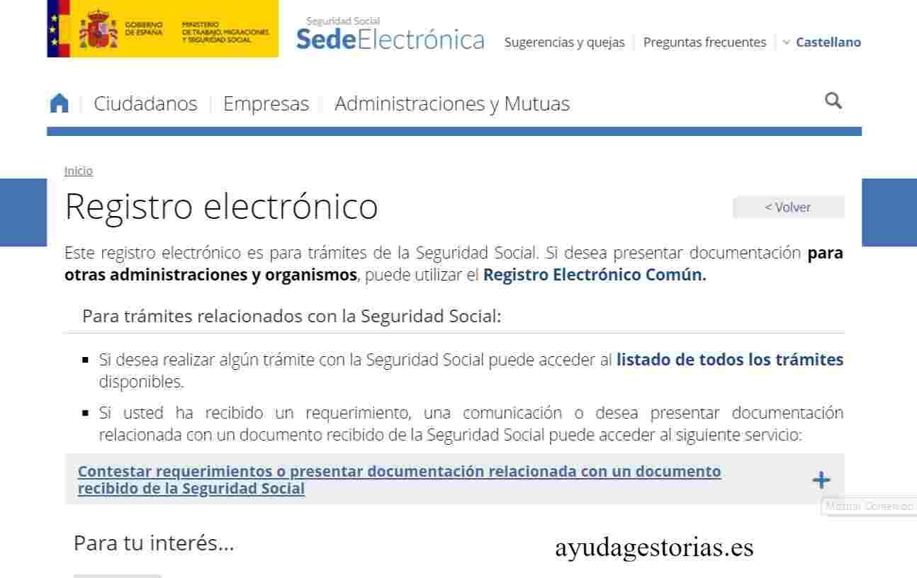 Registro electrónico TGSS