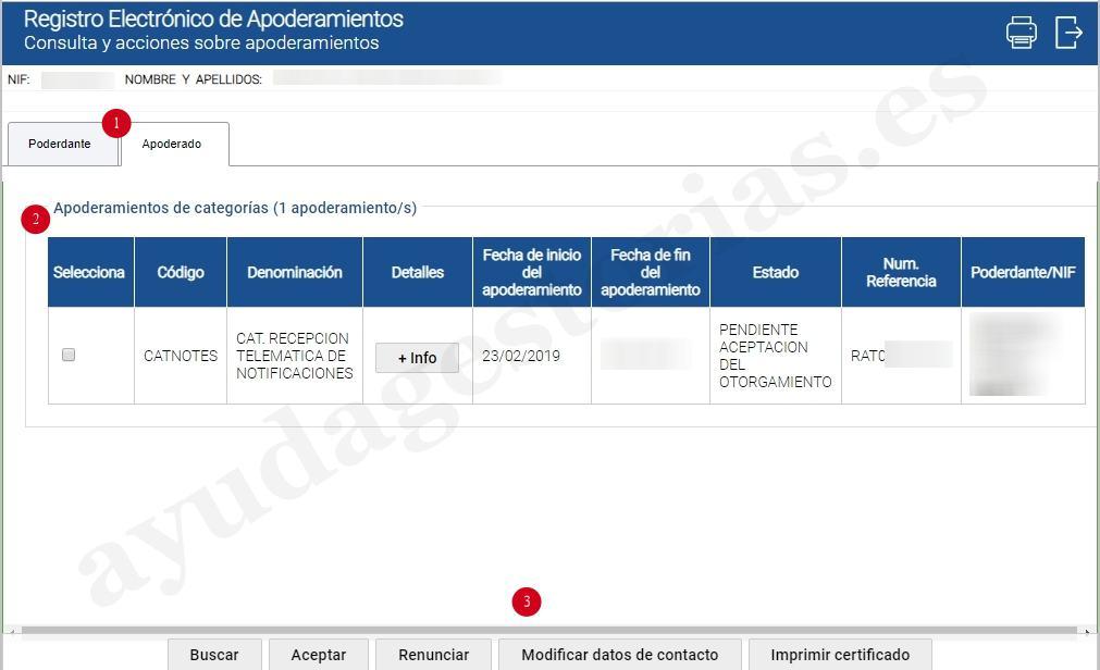 consulta y confirmación de apoderamiento usuarios red